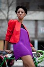 Purple-motel-rocks-dress-red-jacket-forever-21-heels