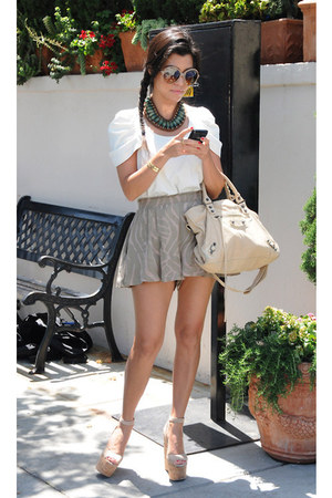 accessories - ivory bag - silver skirt - white blouse - heather gray wedges