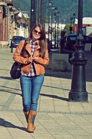 bronze Stradivarius jacket - navy Bershka jeans - eggshell H&M shirt