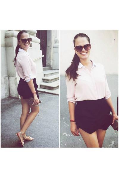 light pink Stradivarius shirt - black Stradivarius shorts - beige Amilly sandals