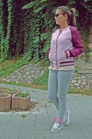 bubble gum H&M jacket - light blue Reebok shoes - silver H&M leggings