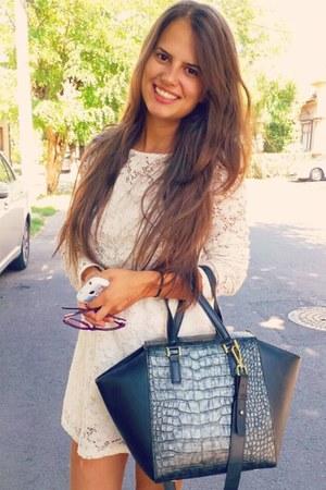 white dress - black H&M bag