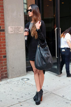 gray sunglasses - black dress - dark gray bag
