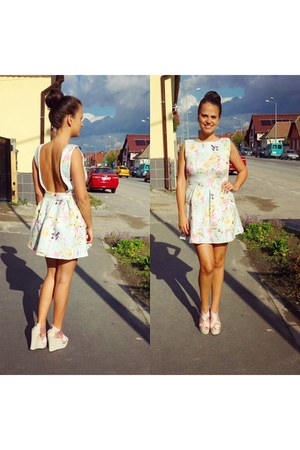 light blue Sheinside dress - light pink Ebay wedges