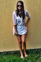 white Orsay blouse - light brown shorts - dark brown New Yorker sunglasses