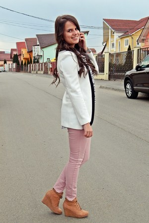 light pink Bershka pants - white OASAP blazer - ivory H&M top