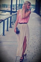 ivory skirt - bubble gum top - dark gray heels