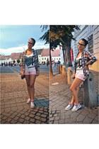 white Bershka top - bubble gum Reebok shoes - light blue H&M shirt