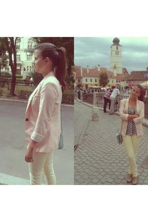 light pink Bershka blazer - cream Zara pants - silver H&M top