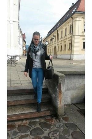 black Sheinside jacket - dark gray H&M shoes - blue Bershka jeans