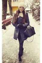 off white H&M hat - charcoal gray Zara coat - black Sheinside leggings