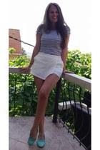 navy Bershka shirt - white Stradivarius shorts - aquamarine Stradivarius flats