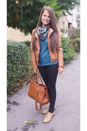 bronze Stradivarius jacket - bronze H&M bag - black Stradivarius pants