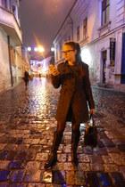 gray Zara coat - black Stradivarius boots - dark gray H&M bag
