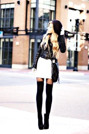 dark gray jacket - black bag - white skirt