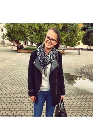 gray H&M shoes - blue Bershka jeans - black Sheinside jacket - black H&M bag