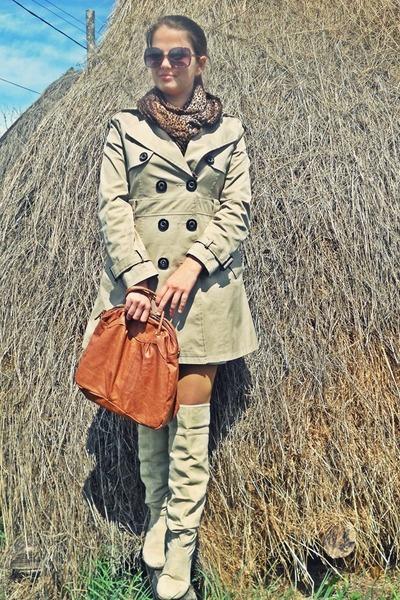 tan boots - beige jacket - burnt orange BLANCO bag - brown New Yorker sunglasses