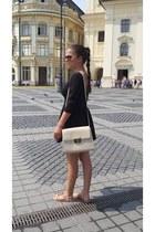 beige Amely bag - black ankas dress - nude Carpisa sandals