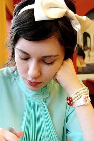 red ann taylor bracelet - blue vintage blouse