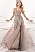 tan dress - light pink dress