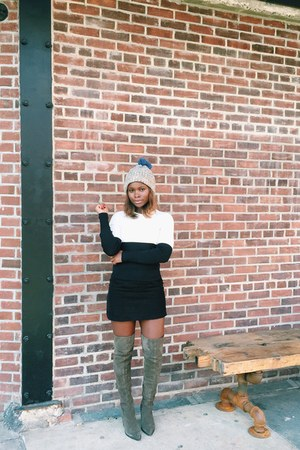 black cord a-line Topshop skirt - camel knee boots Aldo shoes