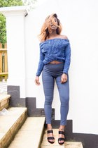 navy skinny work Primark pants - navy offtheshoulder Sheinside jumper