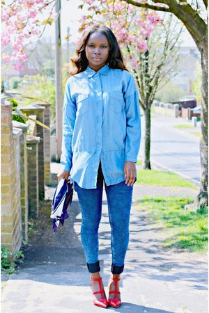 blue asos jeans - red unknown brand shoes - light blue Primark shirt