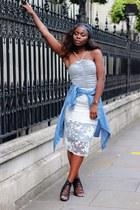 silver dress - white skirt