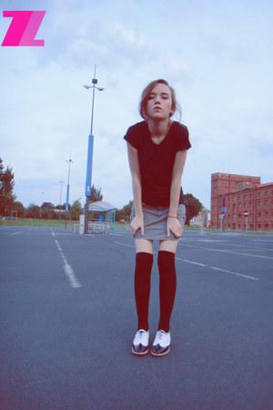 asos shoes - H&M socks - pull&bear skirt - H&M t-shirt