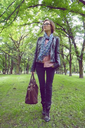 blink boots - black pull&bear jeans - leather Zara jacket - Zara shirt - H&M sca