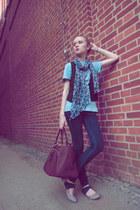Zara jeans - H&M scarf - pull&bear bag - pull&bear vest - mens Tom Tailor t-shir