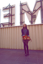 blink boots - jean Zara jacket - leopard print H&M tights - Cubus bag - pull&bea