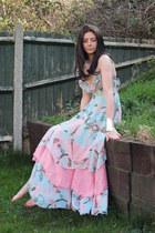 light blue tiered maxi H&M dress