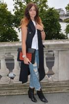 black Kurt Geiger boots - navy H&M coat - sky blue Topshop jeans