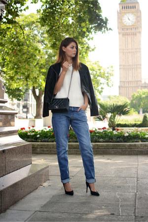 black George jacket - blue Victoria Beckham jeans - black Chanel bag