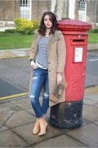 camel Zara boots - tan vintage coat - navy Zara jeans