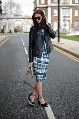 black Forever 21 jacket - heather gray Zara bag - navy Dorothy Perkins skirt