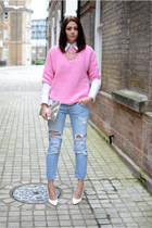white Zara shirt - sky blue Zara jeans - bubble gum Zara sweater