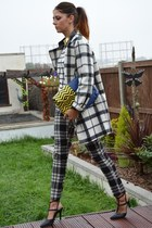 ivory Marks and Spencer coat - yellow asos bag - black check plaid Primark pants
