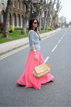 coral Mango skirt - heather gray Primark sweater - nude warehouse bag