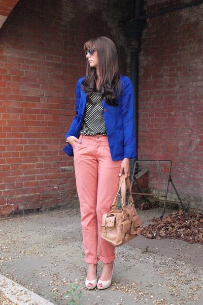 blue boyfriend H&M blazer - nude roxanne Mulberry bag - salmon chinos Primark ro