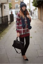 crimson Primark jumper - black next jeans - navy BHS hat - navy BHS scarf