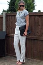 black Ebay bag - ivory Nowhere pants - silver Primark t-shirt - nude Zara heels