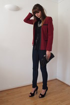 black new look shirt - navy Primark jeans - ruby red Internacionale blazer
