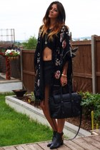 black Zara boots - black River Island jacket - black Zara bag
