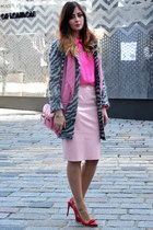 hot pink Topshop shirt - charcoal gray H&M coat