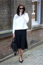 black balenciaga bag - black Ray Ban sunglasses - black Zara heels