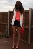 cream waistcoat Zara blazer - orange neon clutch Kurt Geiger bag