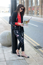black Zara blazer - red new look shirt - black M&S sunglasses - black H&M pants