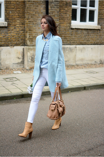light blue Zara coat - bronze Zara boots - white Topshop jeans